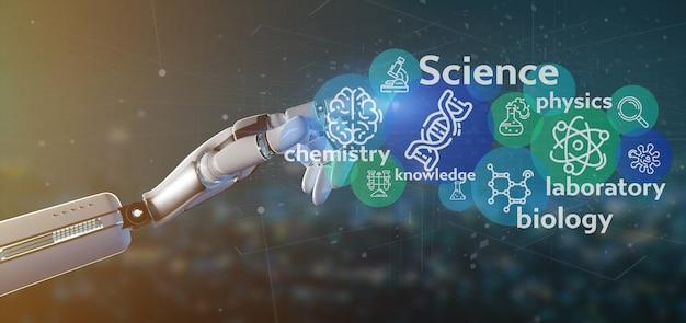 Cyborg mano sosteniendo los iconos de la ciencia y el título Foto Premium