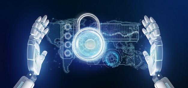 Cyborg mano sosteniendo una interfaz de tecnología de seguridad padlock Foto Premium