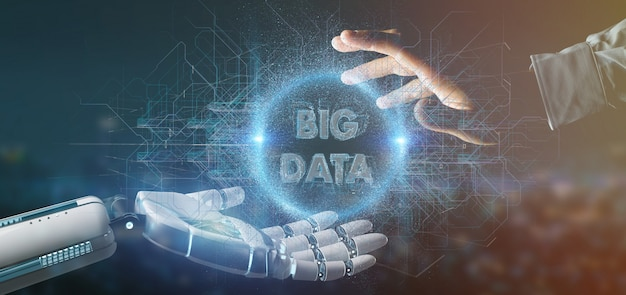 Cyborg mano sosteniendo un título de datos big 3d rendering Foto Premium