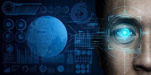 Datos de seguridad futuros mediante escaneo ocular biométrico. Foto Premium