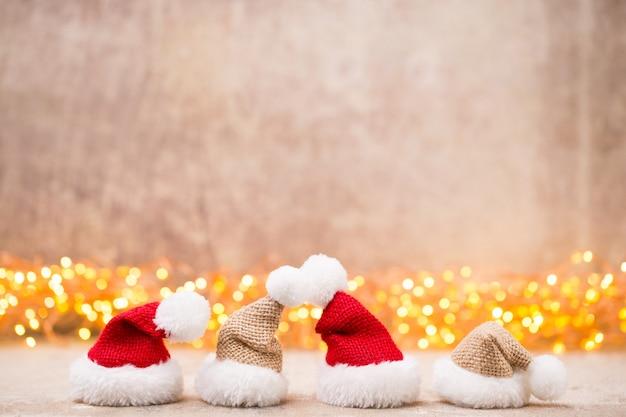 Decoración de concepto de navidad con puntos de luz de fondo y bokeh. Foto Premium