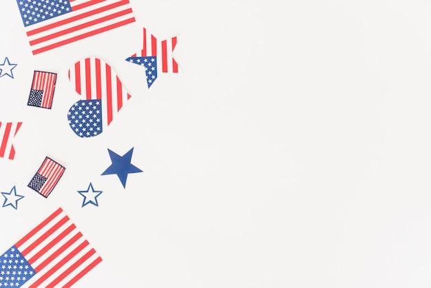 Decoración con estampado de bandera usa. Foto gratis