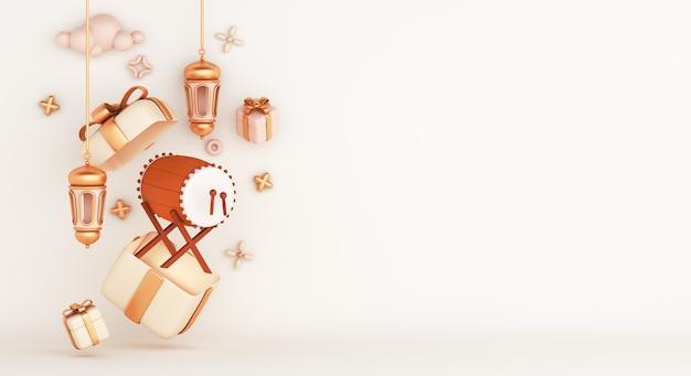 Decoración islámica con caja de regalo de linterna árabe de tambor bedug, espacio de copia Foto Premium