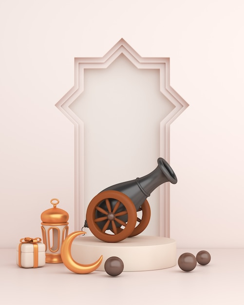 Decoración islámica con cannon árabe marco de ventana linterna media luna Foto Premium