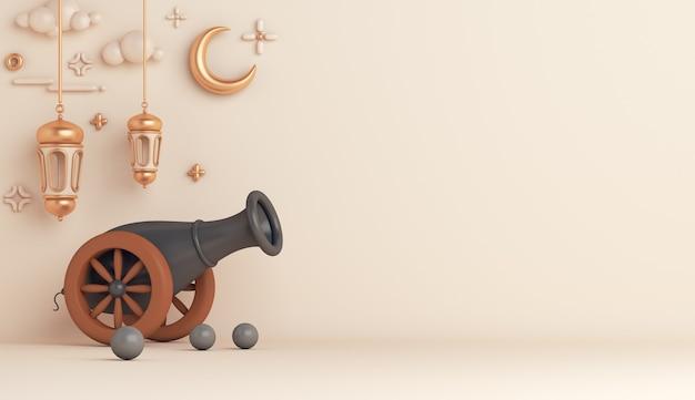 Decoración islámica con espacio de copia de media luna de linterna árabe de cañón Foto Premium