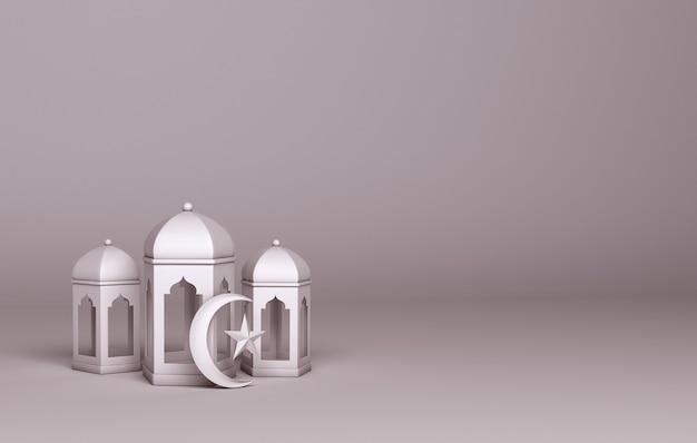 Decoración islámica con espacio de copia de media luna de linterna árabe Foto Premium