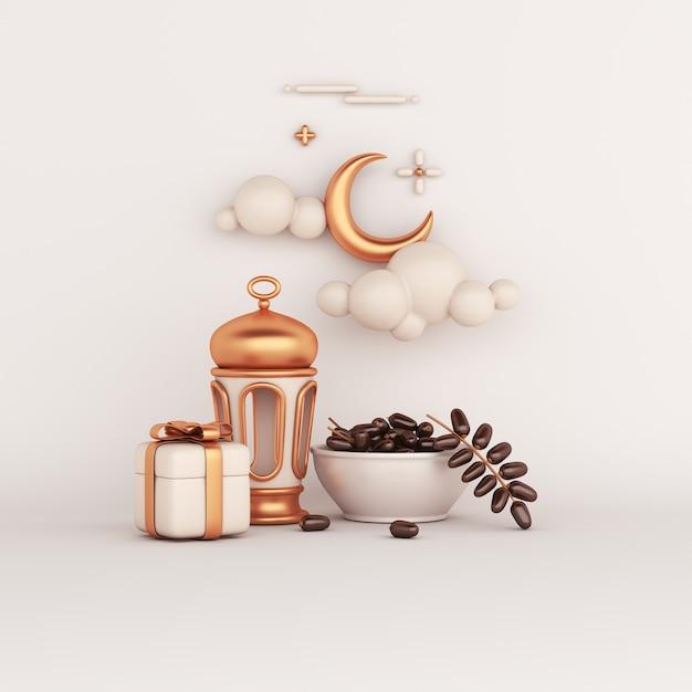 Decoración islámica con linterna árabe fechas caja de regalo de frutas ilustración iftar media luna Foto Premium