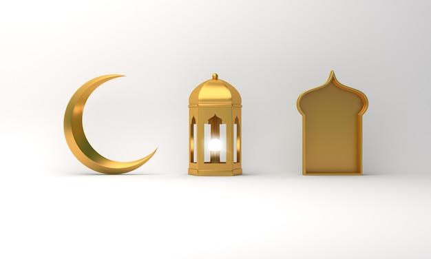 Decoración islámica con ventana de media luna de linterna árabe Foto Premium