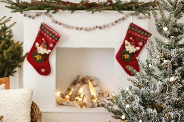 Decoración navideña en casa Foto gratis