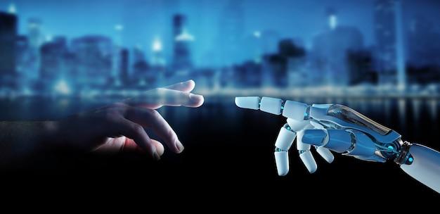 Dedo cyborg blanco a punto de tocar la representación 3d del dedo humano Foto Premium