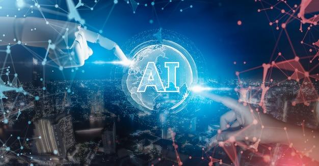 Dedo robot y mano humana mediante interfaz de inteligencia artificial digital. Foto Premium