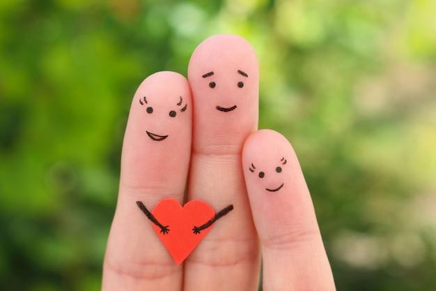 Dedos de arte de familia feliz. Foto Premium