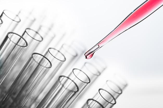 Deje caer las sustancias químicas rosadas en el vaso de precipitados. Foto gratis