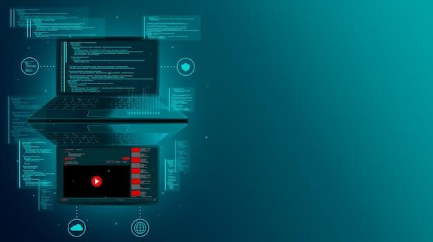 Desarrollo web y codificación de sitios web en una computadora portátil Foto Premium