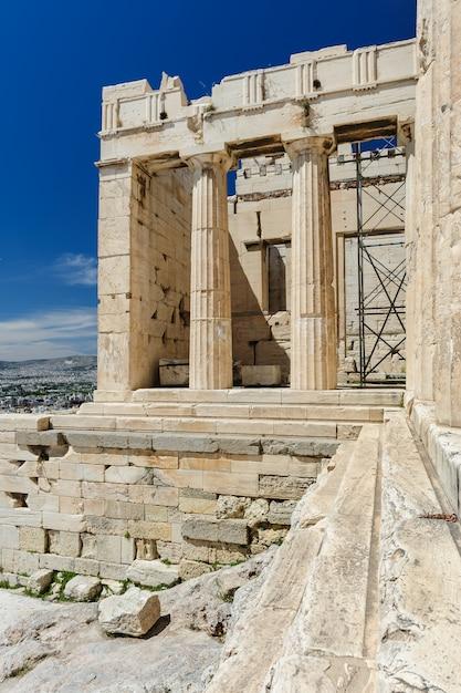 Detalles de entrada de la acrópolis, atenas, grecia Foto Premium