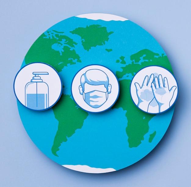 Día mundial del turismo con logotipos covid-19 Foto gratis