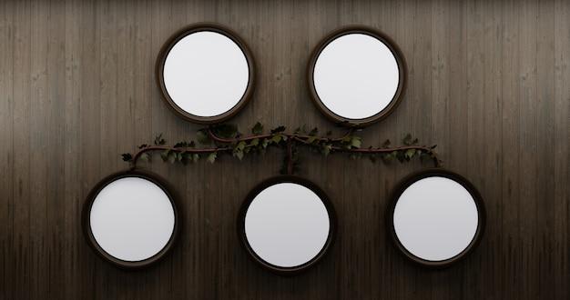 Diagrama de árbol genealógico con marco de círculo para maqueta sobre fondo de pared de madera. diagrama en la pared. Foto Premium