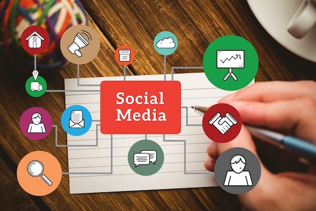 Diagrama de los elementos de las medios sociales Foto Gratis