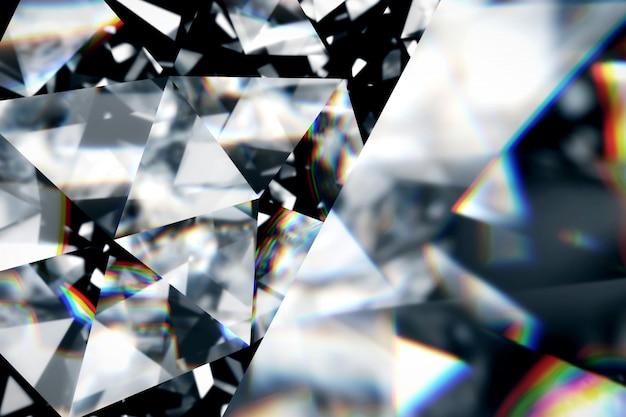 Diamante con textura ascendente cercana cáustica, ilustración 3d. Foto Premium