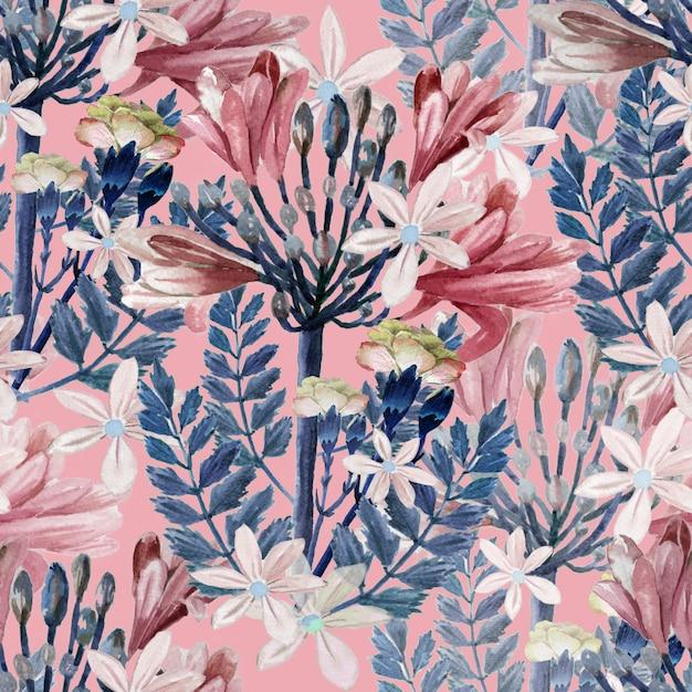 Dibujado a mano acuarela flores rosadas y hojas azules sobre fondo rosa, vintage repetir fondo botánico de patrones sin fisuras Foto Premium