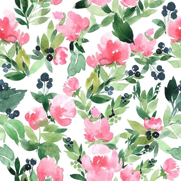 Dibujado a mano acuarela de patrones sin fisuras con la ilustración de la rama verde abstracta Foto Premium