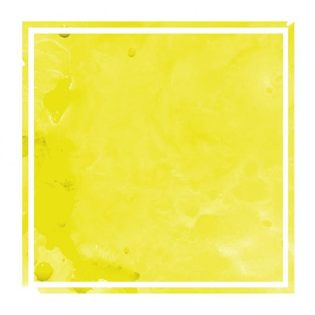Dibujado a mano amarillo acuarela marco rectangular textura de fondo con manchas Foto Premium