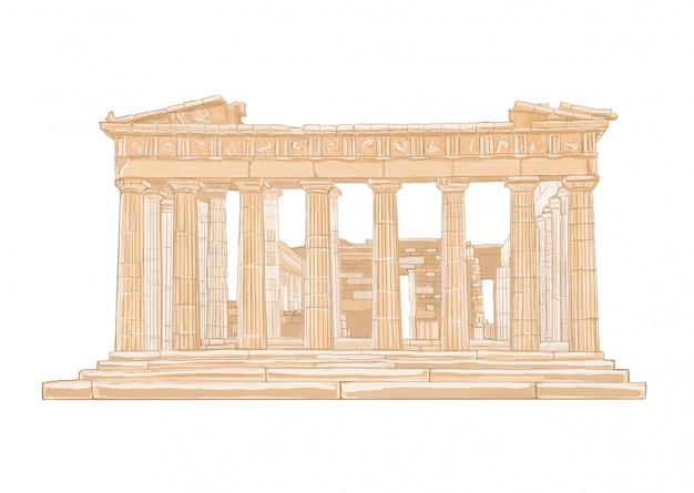 Dibujado a mano ilustración en color del partenón. acrópolis, atenas, grecia. Foto Premium