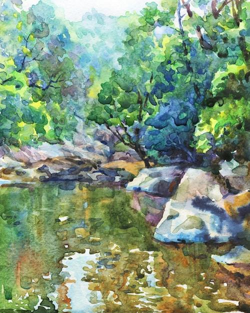 Dibujado a mano paisaje de la naturaleza. acuarela lago y montañas. Foto Premium
