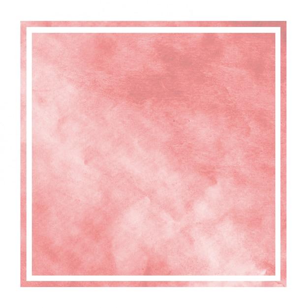 Dibujado a mano rojo acuarela marco rectangular textura de fondo con manchas Foto Premium
