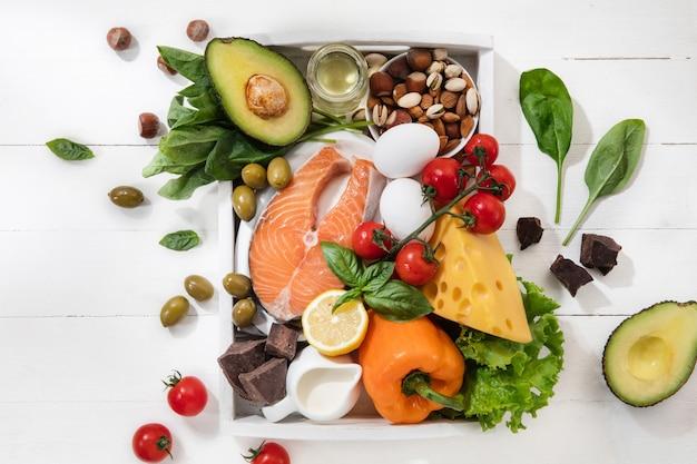 Dieta cetogénica baja en carbohidratos - selección de alimentos en la pared blanca Foto gratis
