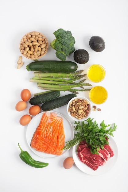 Dieta cetogénica, cetogénica, que incluye verduras, carne..