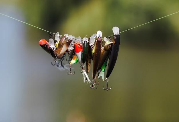 Diferente tipo de señuelo de los pescados que cuelga en línea de la pesca Foto gratis