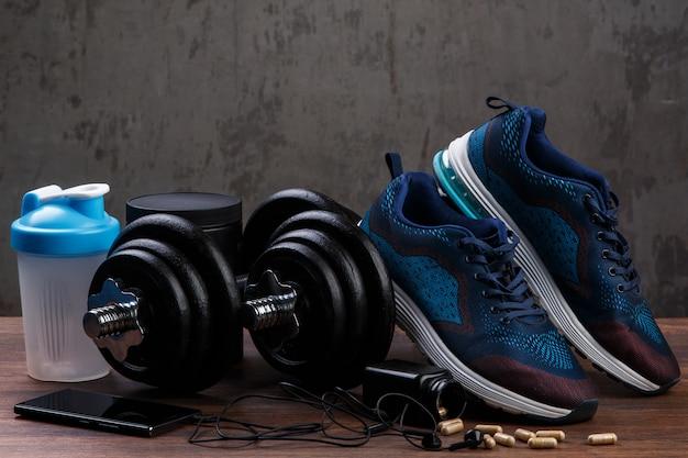 Diferentes artículos para fitness Foto Premium