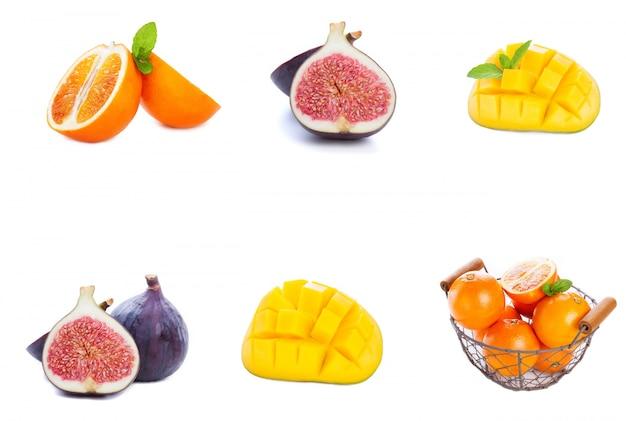 Diferentes frutas puestas en una fila Foto gratis