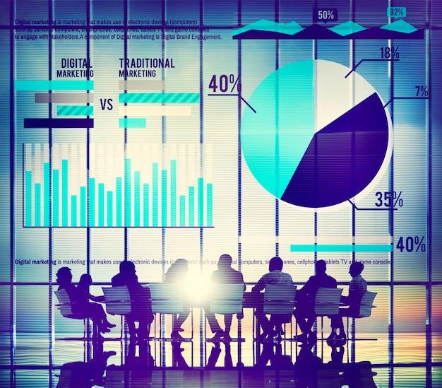 Digital marketing graph statistics análisis finance market conce Foto gratis