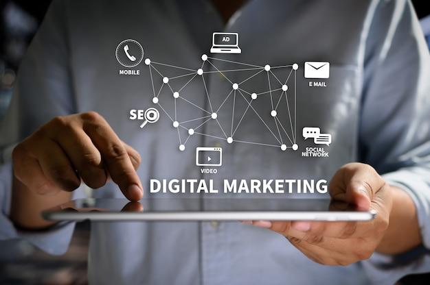 Digital marketing nuevo proyecto de inicio optimización de motores de búsqueda en línea Foto Premium