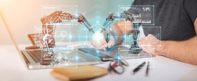 Diseñador gráfico utilizando brazos de robótica con pantalla digital. Foto Premium