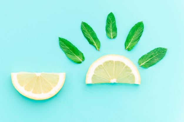 Diseño creativo de trozos de limón con hojas de menta. Foto gratis