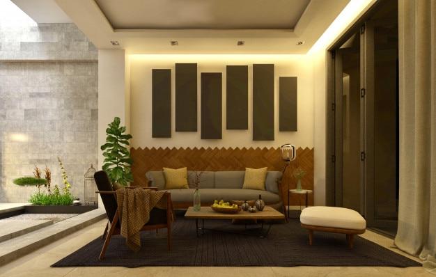 Diseño de interiores de una sala de estar minimalista blanca ...