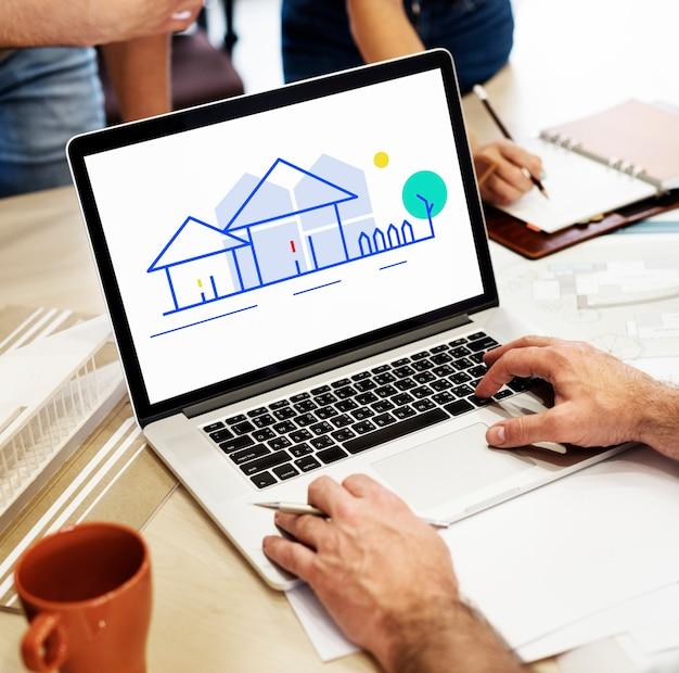 Diseño digital en una computadora portátil en la oficina Foto gratis