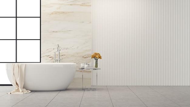 Diseño interior de baño moderno y loft, bañera blanca con pared de mármol Foto Premium