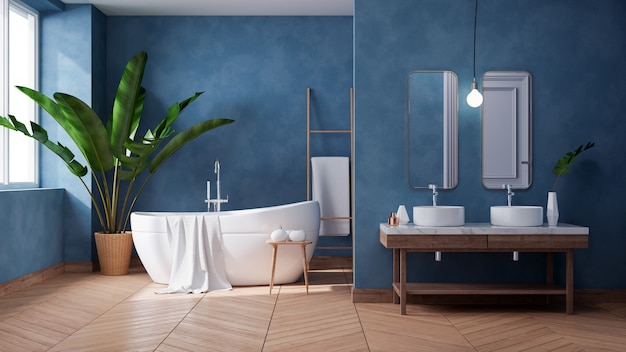 Diseño interior lujoso baño moderno, bañera blanca en la pared azul oscuro del grunge, render 3d Foto Premium