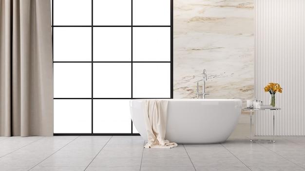 Diseño interior moderno y loft del baño, bañera blanca con pared de mármol, renderizado 3d Foto Premium