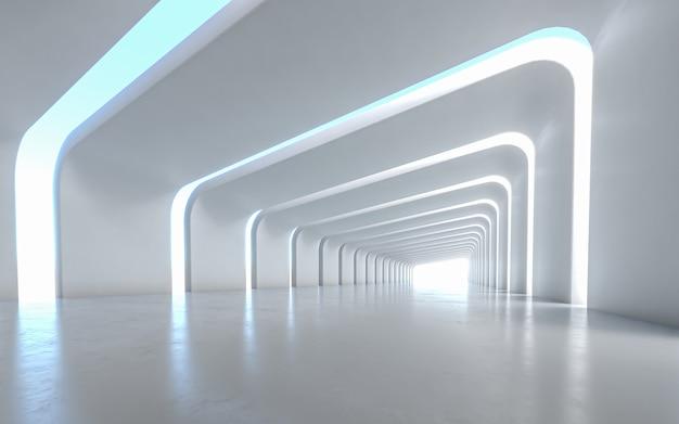 Diseño interior de pasillo iluminado Foto Premium
