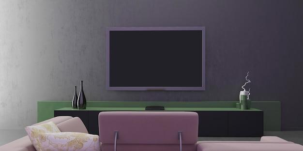 Diseño interior de sala de estar, pared gris verde y clásica, mueble de televisión moderno y minimalista, diseño minimalista, jarrones decorativos, vista frontal con marco simulado poster.3d vertical ilustración. Foto Premium
