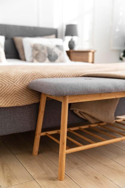 Diseño de interiores de dormitorio borroso Foto gratis