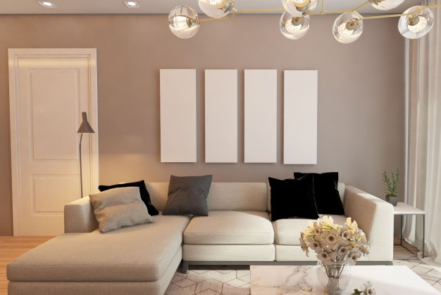 Dise o de interiores de una sala de estar minimalista for Diseno de interiores sala de estar