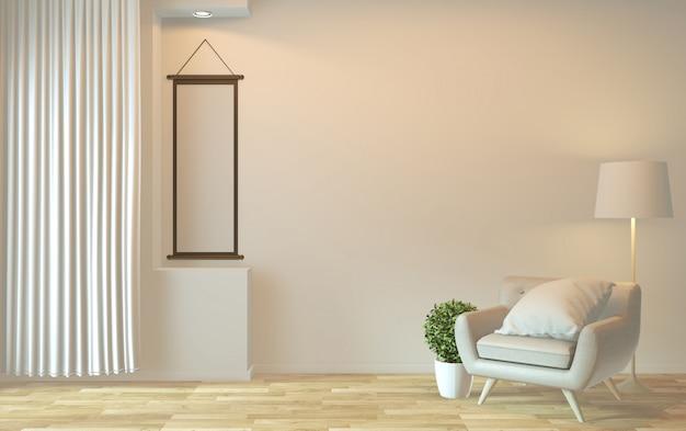 Diseño de interiores, vida moderna zen con sillón y decoración. representación 3d Foto Premium