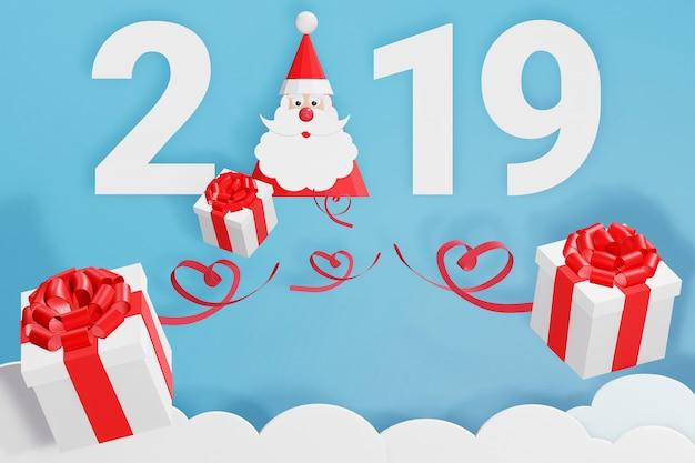 Diseño de renderizado 3d, estilo de arte en papel de feliz año nuevo 2019 y gorro de papá noel con dispersión Foto Premium