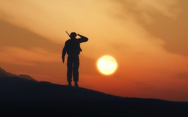 Diseño de soldado vigilando Foto gratis